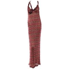 NEW Missoni Embellished Chain Metallic Crochet Knit Maxi Dress Evening Gown