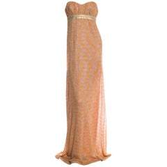NEW Missoni Gold Metallic Corset Lurex Crochet Knit Evening Gown Maxi Dress