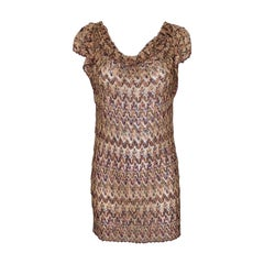 NEW Missoni Gold Metallic Crochet Knit Dress