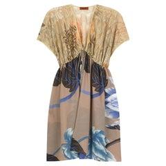NEW Missoni Gold Metallic Crochet Knit Floral Print Kaftan Tunic Dress Cover Up
