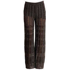 NEW Missoni Gold Metallic Crochet Knit Lurex Palazzo Wide Leg Pants Trousers