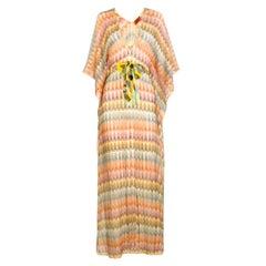 NEW Missoni Gold Metallic Crochet Maxi Knit Kaftan Tunic Dress