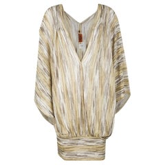 NEW Missoni Gold Metallic Signature Knit Dress Tunic Kaftan Cover Up