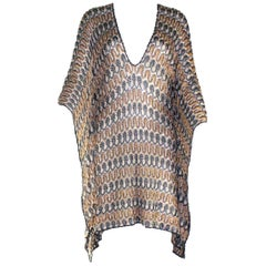 NEW Missoni Gold Metallics Lurex Crochet Knit Kaftan Tunic Top Mini Dress