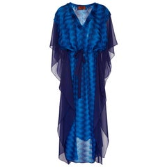 NEW Missoni Metallic Blue Siganature Chevron Crochet Knit Kaftan Maxi Dress