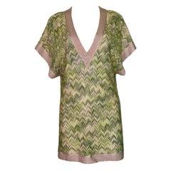 NEW Missoni Metallics Chevron Crochet Knit Kaftan Tunic Cover Up Top Mini Dress