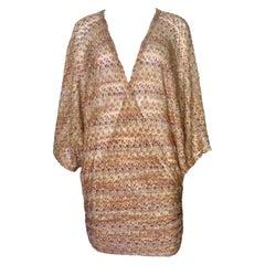 NEW Missoni Metallics Lurex Kaftan Tunic Cover Up Mini Dress