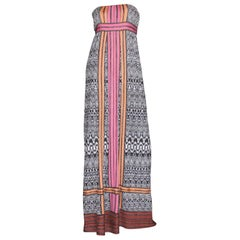 NEW Missoni Monochrome Crochet Knit Maxi Dress Gown with Colorblock Trimming