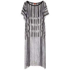 NEW Missoni Monochrome Signature Fringed Crochet Knit Dress Kaftan Gown Cover Up