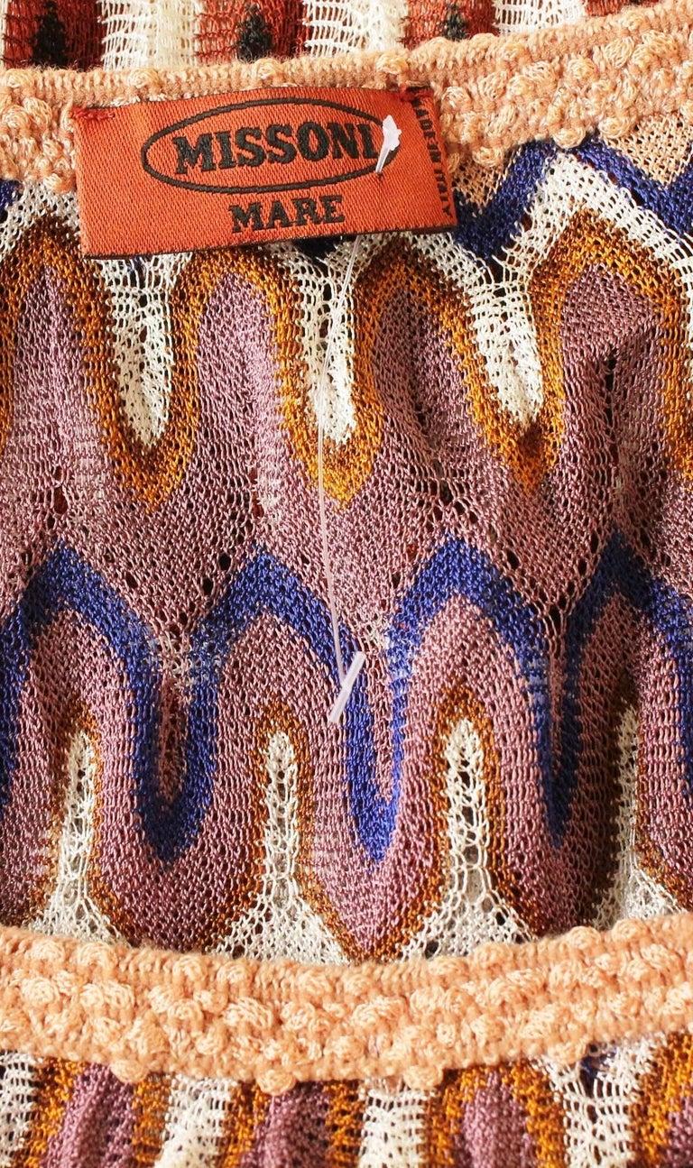 Women's NEW Missoni Multicolor Signature Chevron Crochet Knit Dress