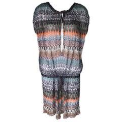 NEW Missoni Multicolor Chevron ZigZag Crochet Knit Kaftan Tunic Cover Up Dress