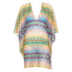 NEW Missoni Multicolor Crochet Knit Kaftan Tunic Cover Up Dress