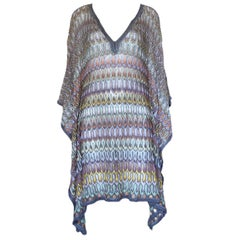 NEW Missoni Multicolor Crochet Knit Kaftan Tunic Dress
