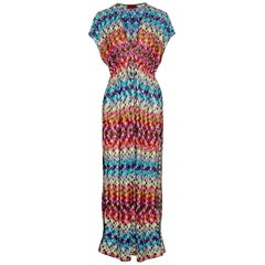 NEW Missoni Multicolor Crochet Knit Maxi Dress Kaftan Tunic Beach Pool Cover Up