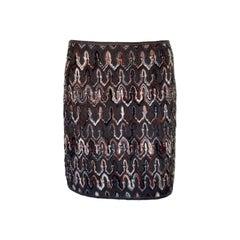 NEW Missoni Multicolor Chevron Zigzag Signature Crochet Knit Skirt