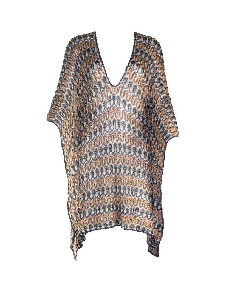 Gray NEW Missoni Multicolor Gold Metallic Lurex Crochet Knit Kaftan Tunic Top Dress For Sale