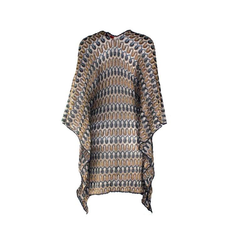 NEW Missoni Multicolor Gold Metallic Lurex Crochet Knit Kaftan Tunic Top Dress In New Condition For Sale In Switzerland, CH