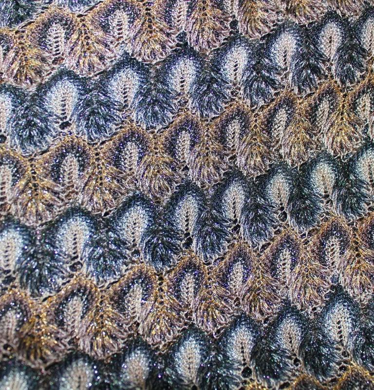 Women's NEW Missoni Multicolor Gold Metallic Lurex Crochet Knit Kaftan Tunic Top Dress For Sale