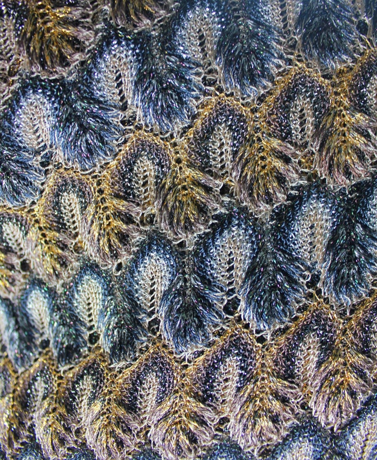 NEW Missoni Multicolor Gold Metallic Lurex Crochet Knit Kaftan Tunic Top Dress For Sale 1
