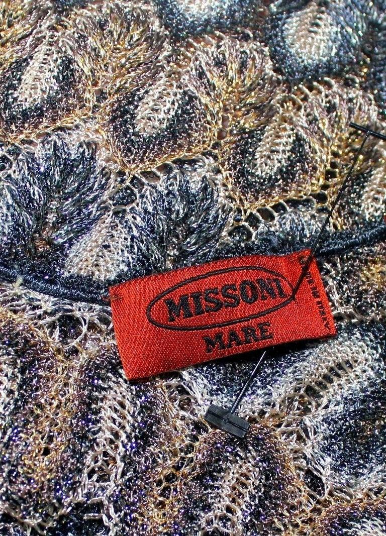 NEW Missoni Multicolor Gold Metallic Lurex Crochet Knit Kaftan Tunic Top Dress For Sale 2