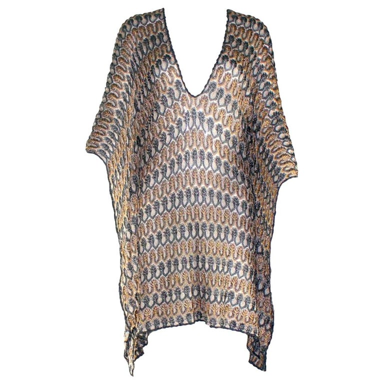 NEW Missoni Multicolor Gold Metallic Lurex Crochet Knit Kaftan Tunic Top Dress For Sale