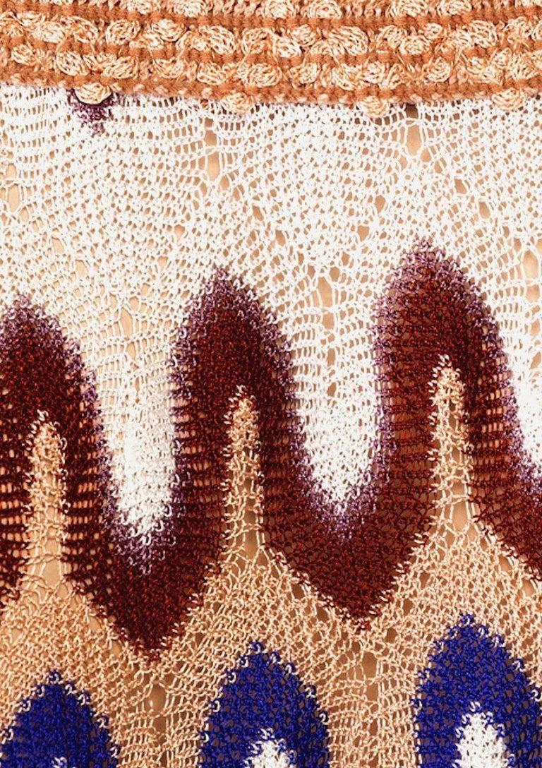 NEW Missoni Multicolor Signature Chevron Crochet Knit Dress In New Condition For Sale In Switzerland, CH