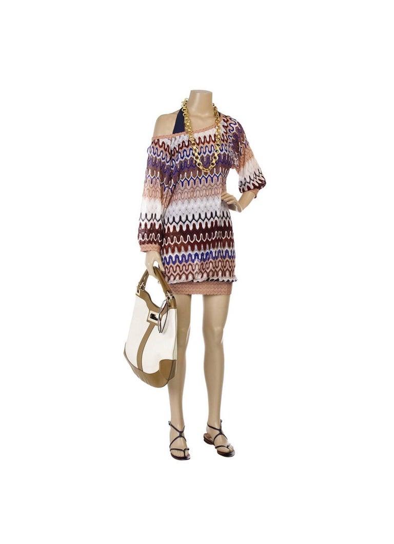 NEW Missoni Multicolor Signature Chevron Crochet Knit Dress For Sale 1
