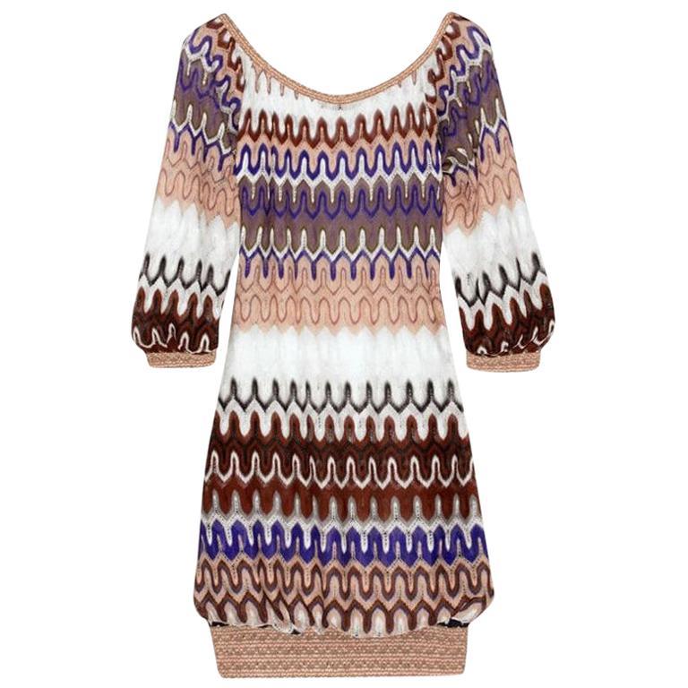 NEW Missoni Multicolor Signature Chevron Crochet Knit Dress
