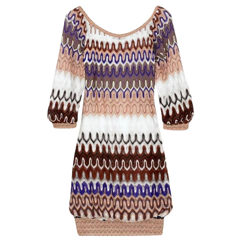 NEW Missoni Multicolor Signature Chevron Crochet Knit Dress For Sale