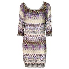NEW Missoni Multicolor Signature Chevron Crochet Knit Dress