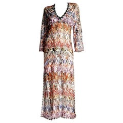 NEW Missoni Multicolor Signature Crochet Knit Kaftan Style Maxi Dress Gown
