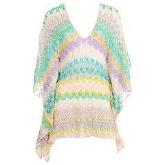 NEW Missoni Pastels Crochet Knit Kaftan Tunic Cover Up Mini Dress