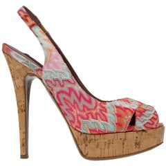 NEW Missoni Pink Crochet Knit Peep Toe Sling Back Cork Sandals High Heels