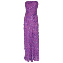 NEW Missoni Purple Embroidered Crochet Knit Evening Gown Maxi Dress