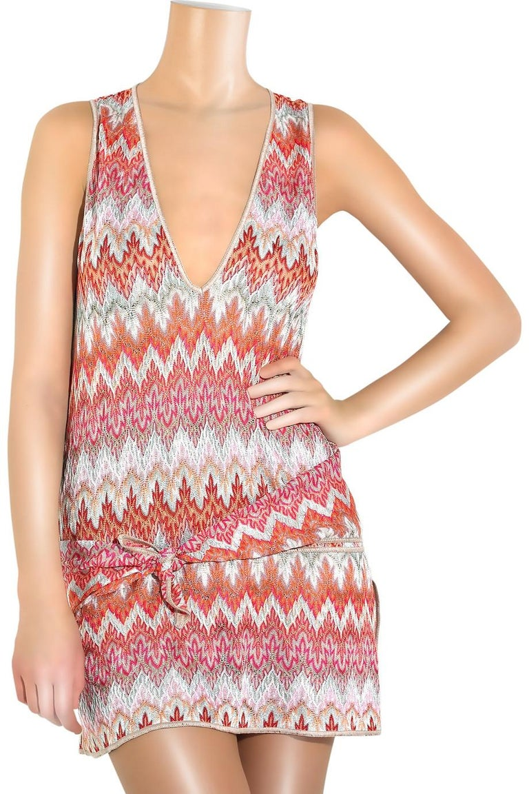 Women's NEW Missoni Signature Chevron Crochet Knit Belted Tunic Mini Dress For Sale