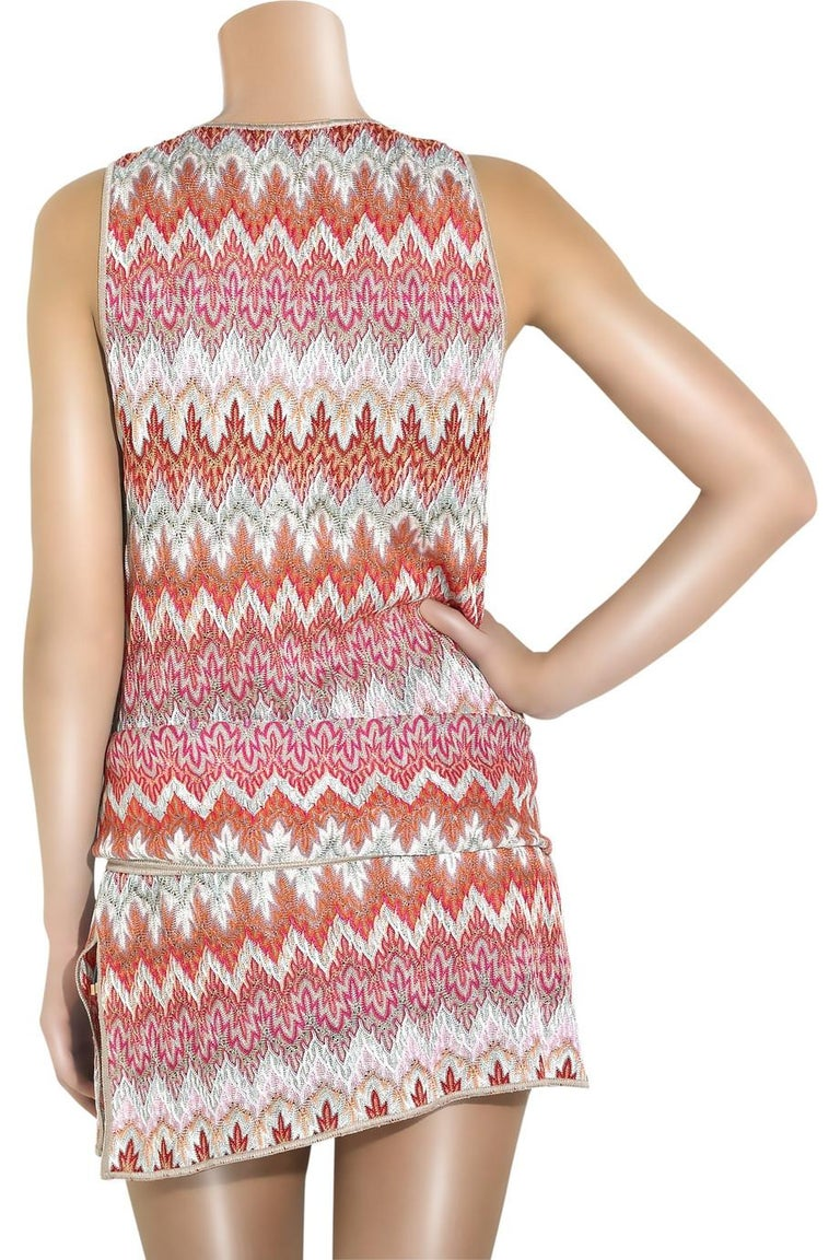 NEW Missoni Signature Chevron Crochet Knit Belted Tunic Mini Dress For Sale 1