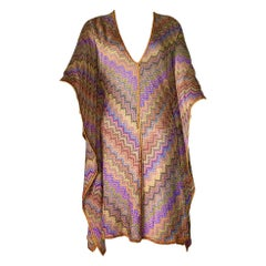 NEW Missoni Signature Chevron Zigzag Metallic Kaftan Tunic Dress Coverup