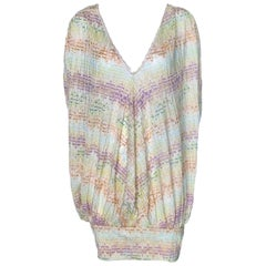 NEW Missoni Signature Iridescent Metallic Crochet Knit Dress Kaftan