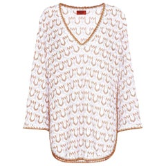 NEW Missoni Signature White & Gold Metallic Knit Dress Kaftan Cover Up
