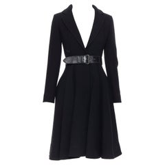 new MIU MIU 2013 black virgin wool leather belted fit flared winter coat IT36 XS