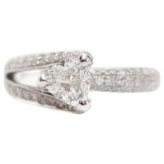New Modern 2.1 Carat Trillion Diamond Ring Asymmetrical Pavé 1 Carat GIA Centre