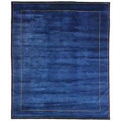 New Post-Modern Indigo Blue Area Rug with Contemporary Chinese Style