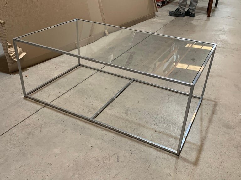 New modern rectangular white table with glass top. Indoor or outdoor.  Wrought iron.