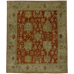 New Traditional Area Rug with Oushak Design and Modern Arts and Crafts Style