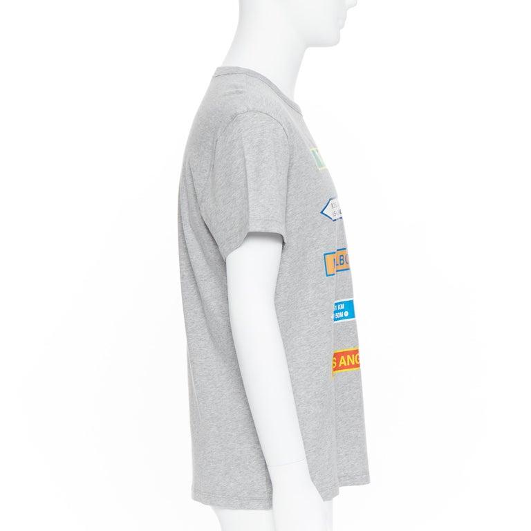 Men's new MONCLER 100% cotton grey signage print short sleeve crew neck t-shirt top L For Sale