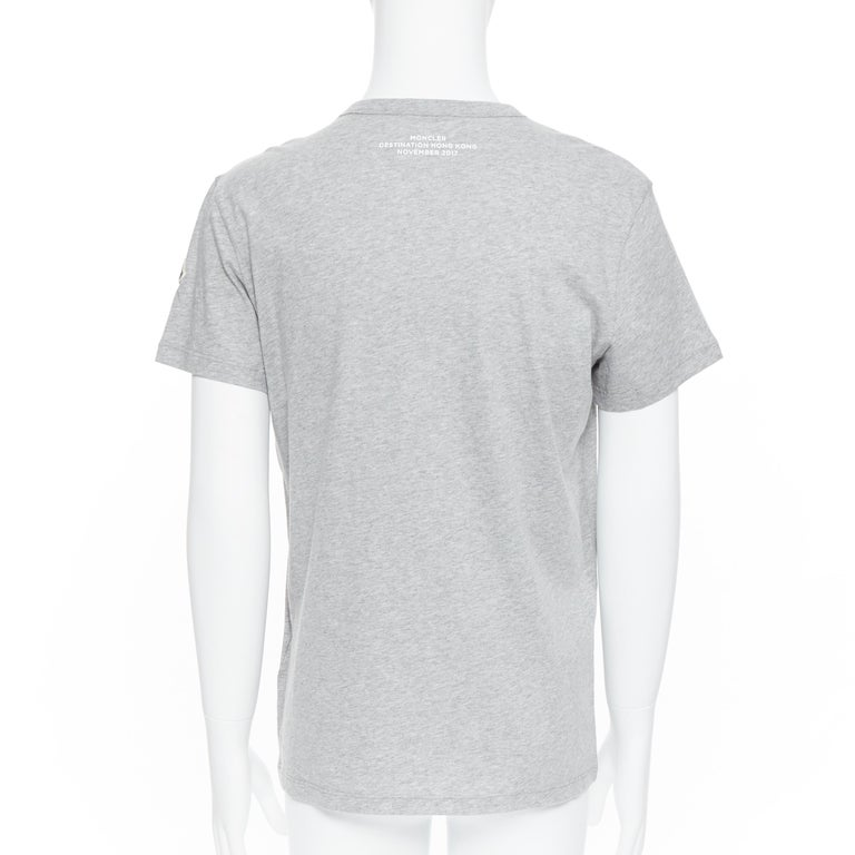 new MONCLER 100% cotton grey signage print short sleeve crew neck t-shirt top L For Sale 1