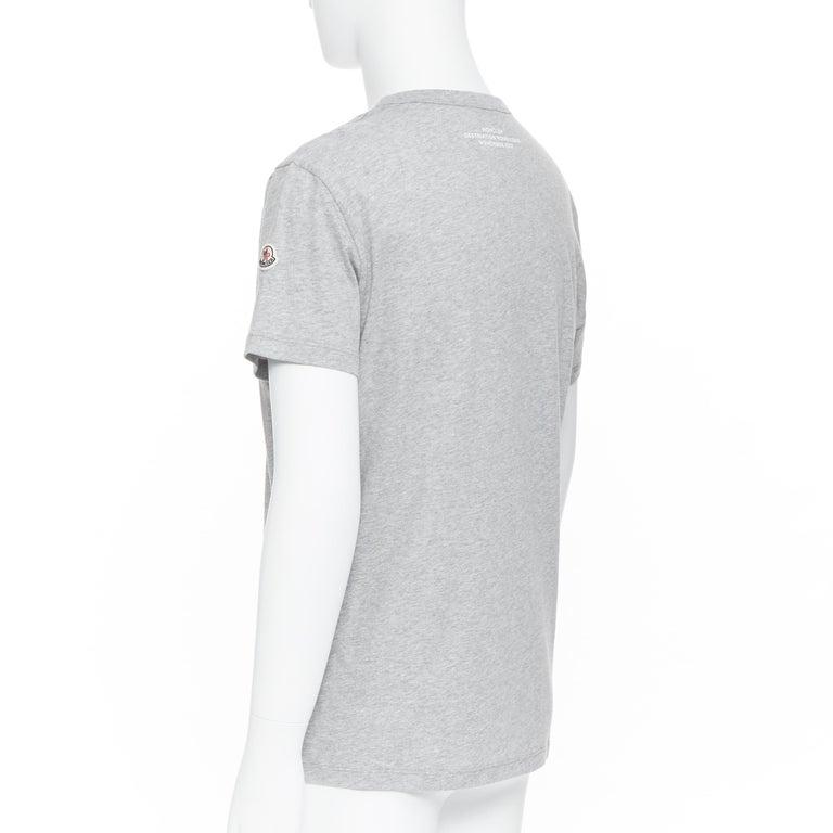 new MONCLER 100% cotton grey signage print short sleeve crew neck t-shirt top L For Sale 2