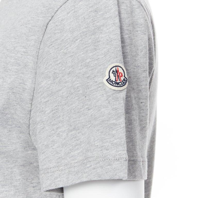 new MONCLER 100% cotton grey signage print short sleeve crew neck t-shirt top L For Sale 4