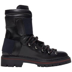 new MONCLER Carol black leather lace up elastic band lug sole hiking boot EU36