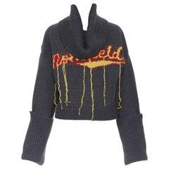 new MONSE 100% wool Monsfield fringe intarsia knit oversized cropped sweater S